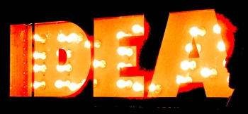 The word idea spelt out in bright lights